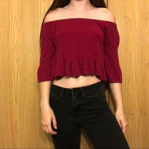 living doll Tops - red off the shoulder crop top